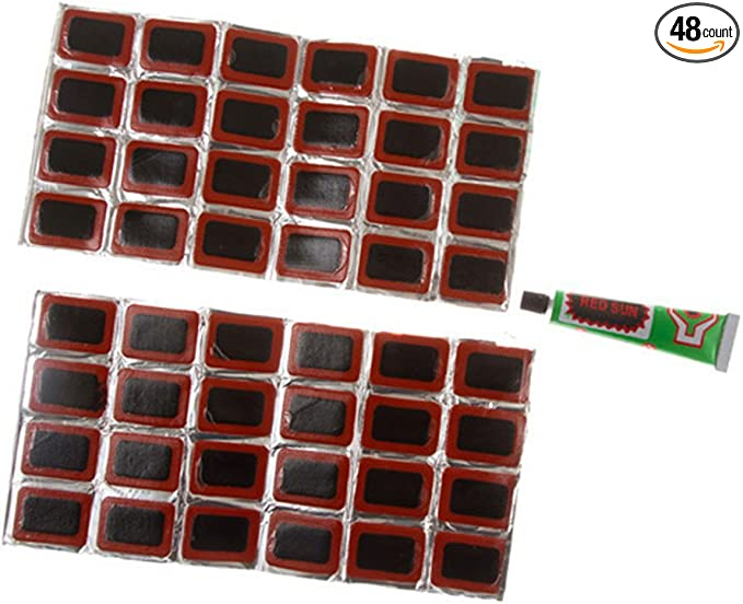 48Pcs Bicycle Tire Tyre Tube Rubber Puncture Patches Road Bike Repair  Kit TO