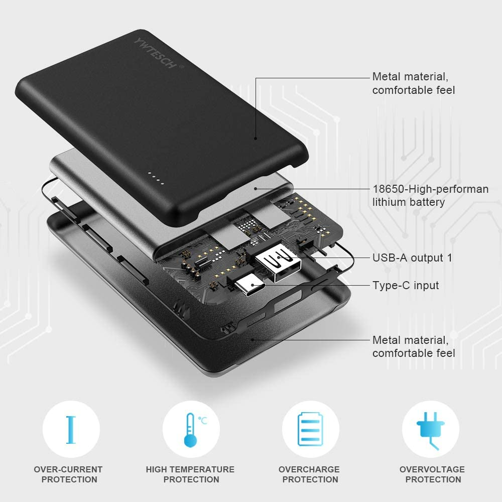 Power Bank Cargador Port/átil con Salida USB-A//Type-C PD y Entrada Type C YWTESCH PD Bater/ía Externa 10000mAh Aleaci/ón de Aluminio Mini Powerbank Compatible con iPhone//Huawei//iPad//Android 2 Cable