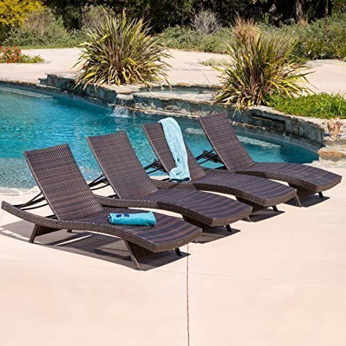 Oakville Outdoor Patio Rattan Wicker Adjustable Pool Chaise Lounge Chair u2013 Set of 4  sc 1 st  Amazon.com : chaise lounge for pool - Sectionals, Sofas & Couches