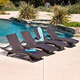Oakville Outdoor Patio Rattan Wicker Adjustable Pool Chaise Lounge Chair – Set of 4