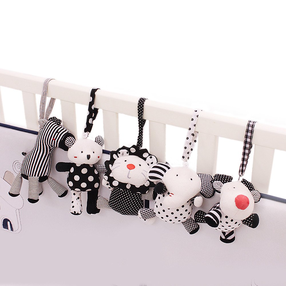 SHILOH Baby Crib Stroller Carseat Decoration 5PCS White & Black (Zoo Animals)