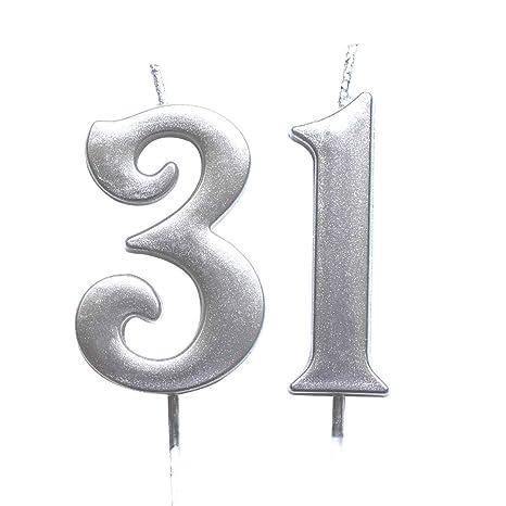 Amazon.com: Magjuche - Velas de cumpleaños número 31, color ...