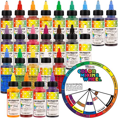 Chefmaster by US Cake Supply 2.3-Ounce Airbrush Cake Food Colors 26 Bottle Kit with Color Mixing Wheel
