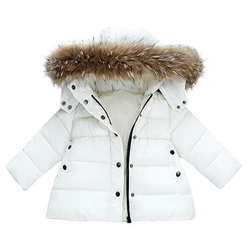 Abrigo acolchado para bebé niña con pelo en capucha,Yannerr niñas niños abajo chaqueta otoño inviern...