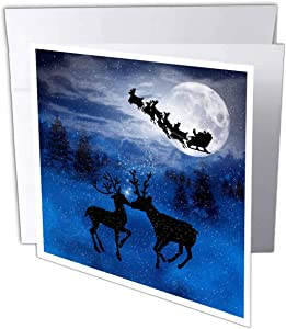 Christmas Reindeer Kissing in Snow with Winter Moon - Greeting Card, 6 x 6 inches, single (gc_79414_5)