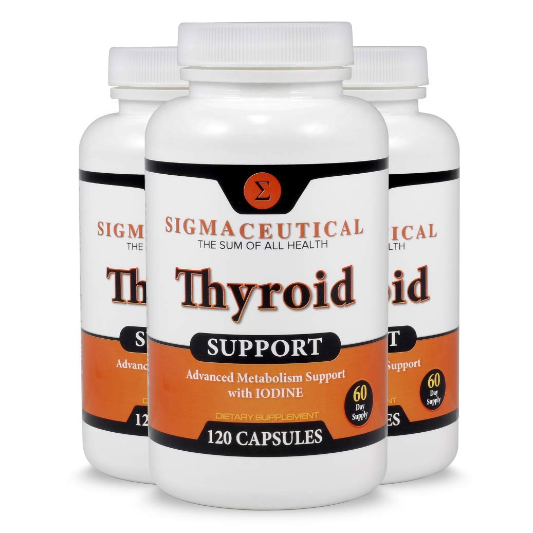 3 Pack of Thyroid Support Supplement - Iodine Supplement - Zinc & Selenium Supplement - Kelp Supplement - 120 Capsules Each by Sigmaceutical