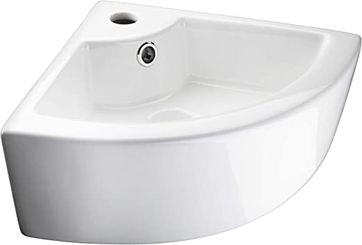 TecTake 800444 Lavabo à poser en céramique vasque rectangulaire salle de  bain d\'Angle - diverses modèles (Type 2 Lavabo d\'Angle   no. 402570)