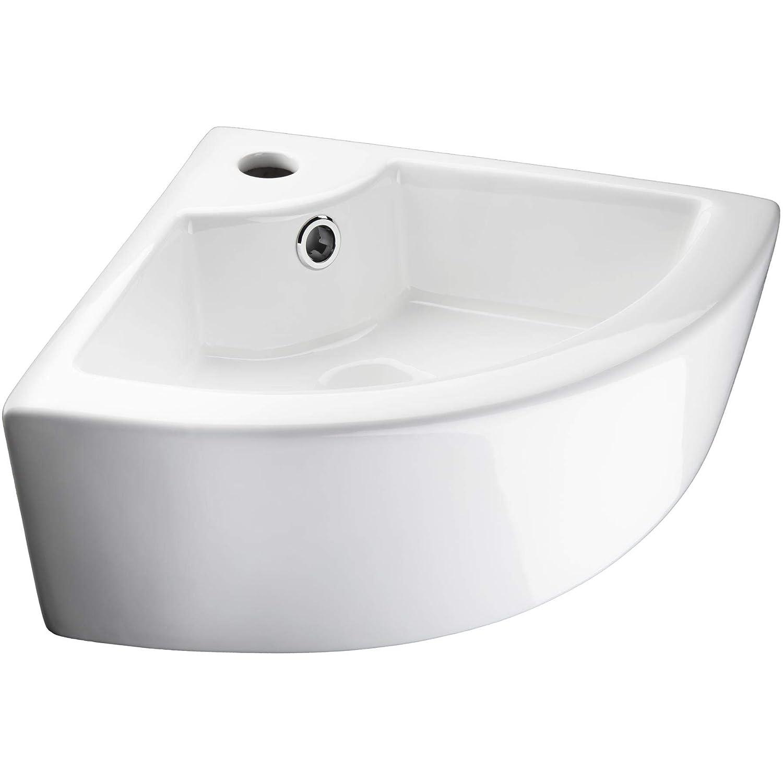 TecTake Lavabo de cer/ámica rectangular lavamanos esquina encimera cuenca mano ba/ño tocador Tipo 3 Lavabo rectangular   no. 402571 -varios modelos-