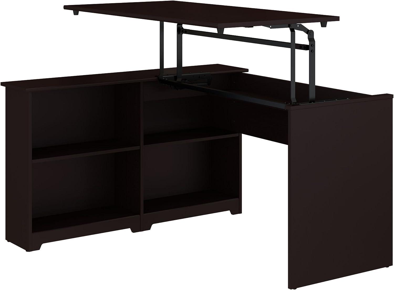 Bush Furniture Cabot 52W 3 Position Sit to Stand Corner Bookshelf Desk in Espresso Oak