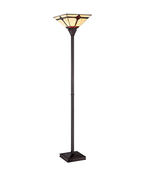 Lite Source Ls 82041 Floor Lamp With Amber Tiffany Glass Shades Bronze Finish