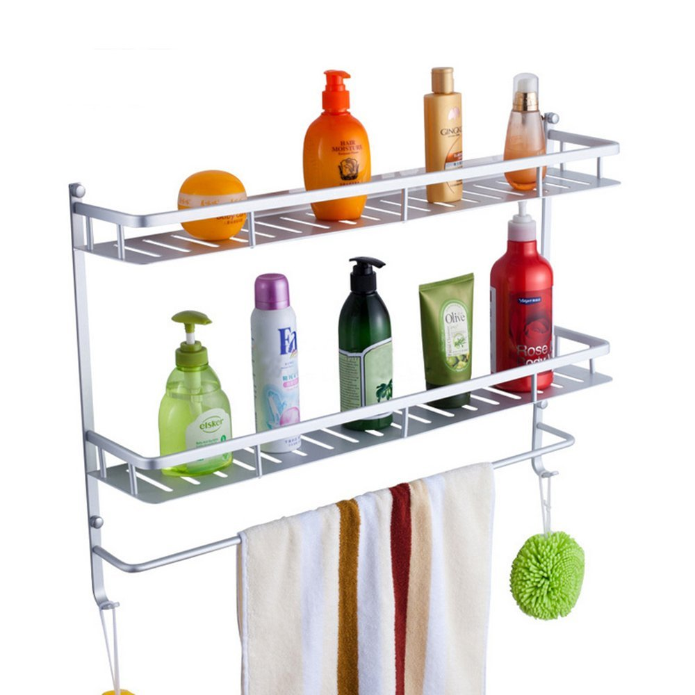 MyLifeUNIT Wall Mount Bathroom Shower Caddy, Aluminum Double Tier Bathroom Tray Organizer with Towel Rack (23.6 Inch)