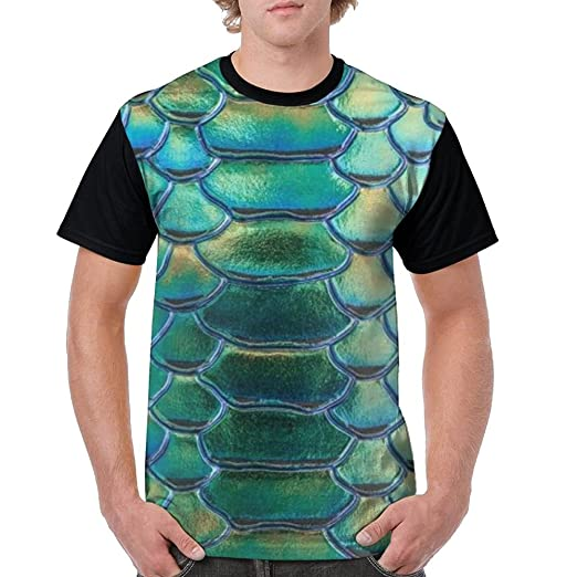 80beeb44189f Image Unavailable. Image not available for. Color  LPOWA Men s T-Shirt  Green Glitter Snake Scales Short Sleeve Tee 3D Graphic Printed Tank