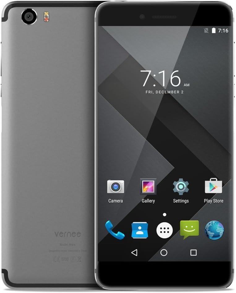 Vernee Mars Smartphone Libre 4G LTE 4GB RAM 32GB ROM, OTG 5,5 Pulgadas 1080P Cámara 13MP + 5MP, Android 6.0 Dual SIM MTK6755 2.0GHz Octa Core, USB Type C Carga Rápida, Gris: