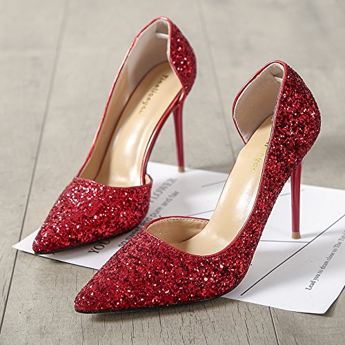 Jqdyl Red de tacón Tacones profunda Side Acentuado Moda poco Zapatos fino Air Boca rtZr7q