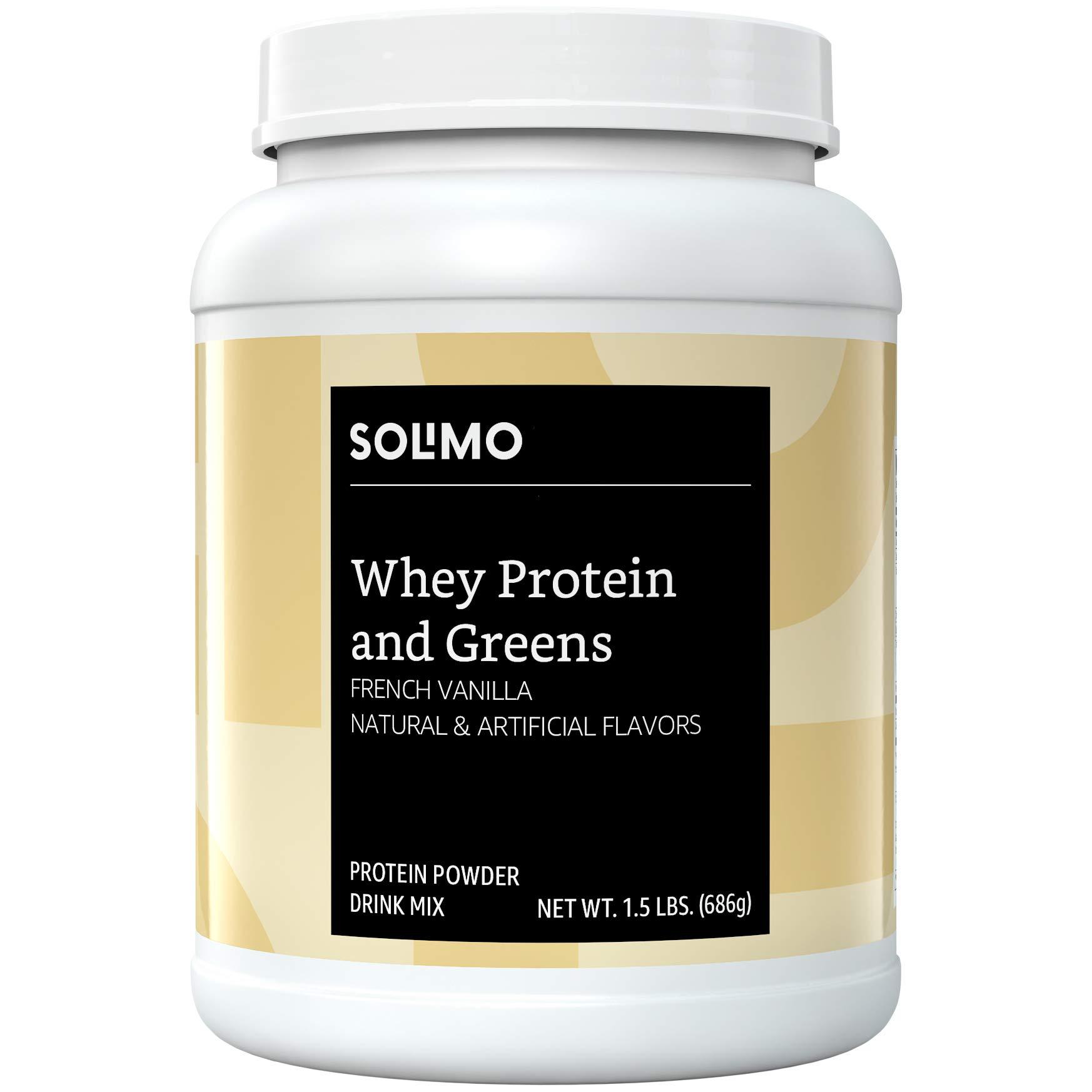 Amazon Brand - Solimo Whey Protein & Greens Blend, French Vanilla, 1.5 Pound