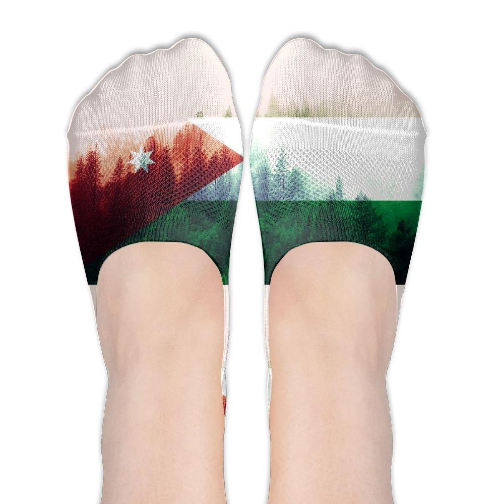 Jordan Flag With Forest No Show Socks Boat Socks Non Slip Flat Boat Line For Dancing,Yoga,Daily Life