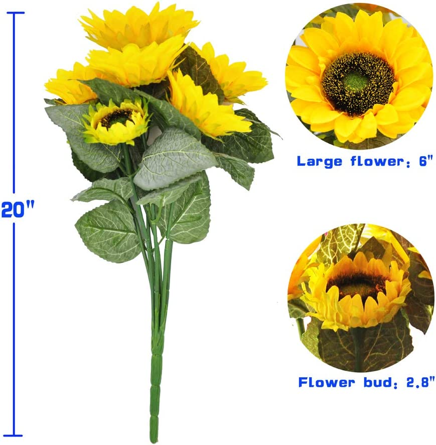 cn-Knight 7pcs Artificial Sunflowers Real-Touch Silk Flowers for Wedding Bridal Bouquet Bridesmaid Groomsman Corsages Boutonniere Home D/écor Office Baby Shower Party Centerpieces,2 in Pack