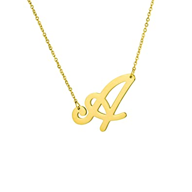 077a8e69bd740 MEMGIFT Initial Large Big Letter A Necklace Stainless Steel Pendant Jewelry  for Women Bridesmaid