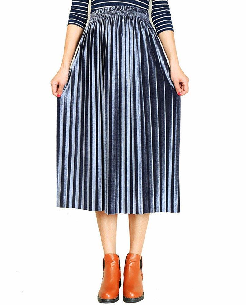 Moxeay Women High Waist Velvet Pleated A-Line Midi Skirt (S, Blue)