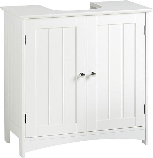 VonHaus Meuble Sous Vasque - Plancher d\'armoire de Salle de bain en Bois  MDF Blanc - Rangement Pour meuble de Salle de bain - 60 x 30 x 60cm