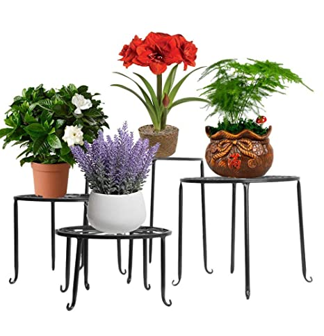 55d6d4323ed5 Set of 4 Indoor Plant Pot Stand Holder Metal Plant Stand Table Round Floor Flower  Pot Display Rack Shelf Outdoor Garden Porch Home Decor (Black): ...