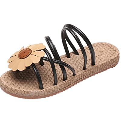 Women Flower Flip Sandals Shoes Summer Fashion Low Heel Flops Flat Sandals Makaor
