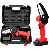 Mini Chainsaw, 4-Inch Cordless Electric Protable Chainsaw with 1Pcs Batteries & Chain Brushless Motor, One-Hand 0.7kg…