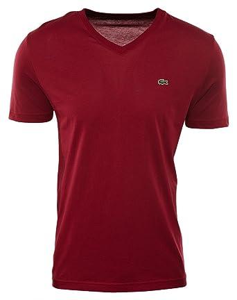 019922bce5 Lacoste Men s S S Pima Jersey V-Neck T-Shirt Bordeaux Shirt  Amazon ...