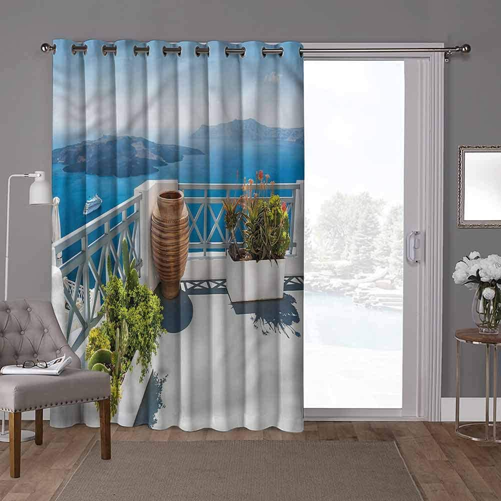 YUAZHOQI Thermal Insulated Room Divider Blackout Patio Curtains, Landscape,Santorini Island Greece, W100 x L108 Inch Decorative Room Divider(1 Panel)