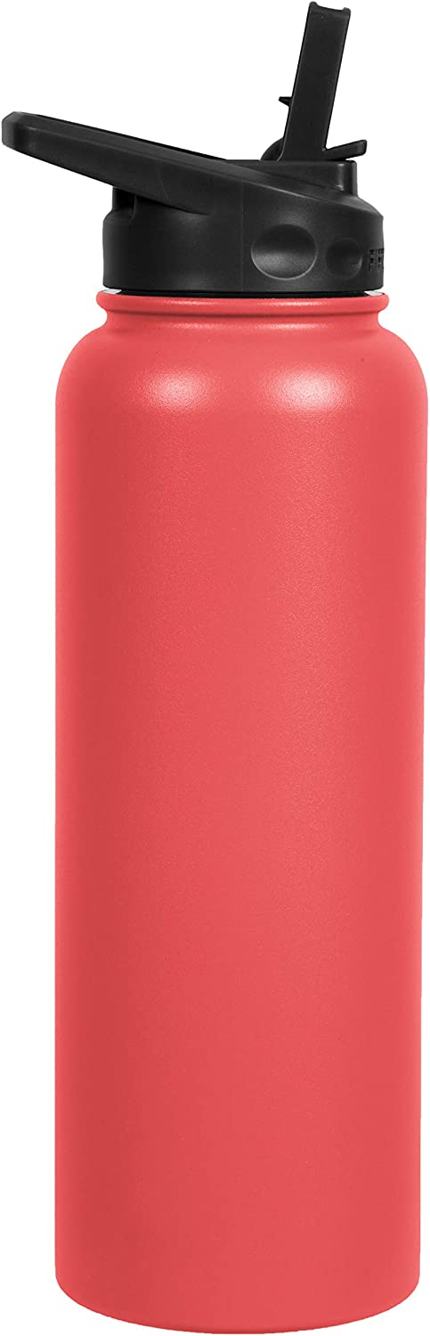 FIFTY/FIFTY 40oz, Double Wall Vacuum Insulated Sport Water Bottle, Stainless Steel, Straw Cap w/Wide Mouth, Coral, 40oz/1.1L