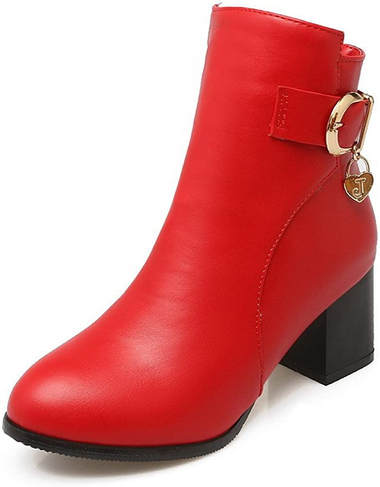 39 Red AalarDom Womens Soft Material Zipper Round Closed Toe Kitten Heels Low-top Boots