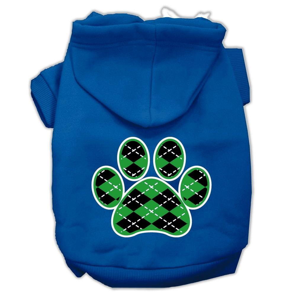 bluee Large bluee Large Mirage Pet Products 14  Argyle Paw Green Screen Print Pet Hoodie, Large, bluee