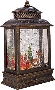 Kurt S. Adler Kurt Adler 11-Inch Battery-Operated Santa Sled LED Water Lantern Table Piece, Multi