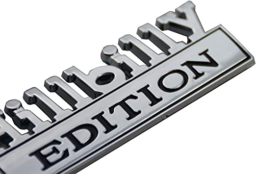 Chrome 2x Small Size Hillbilly EDITION Emblem 3D Nameplate Badges Compatible for GMC Chevy Car Truck