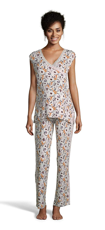 Coconut Lamaze Womens Maternity Short Sleeve Shirt and Elastic Waist Pants Pajama Set