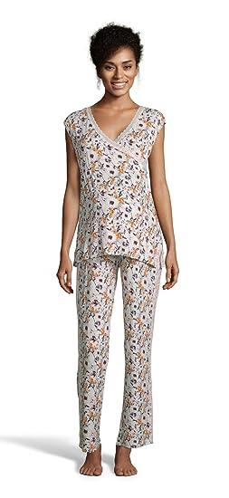 d3327e43202d9 Lamaze Intimates Womens Maternity Short Sleeve Shirt and Elastic Waist  Pants Pajama Set Coconut Small