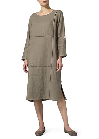 1d365a065f Vivid Linen Side Slits Dress at Amazon Women s Clothing store