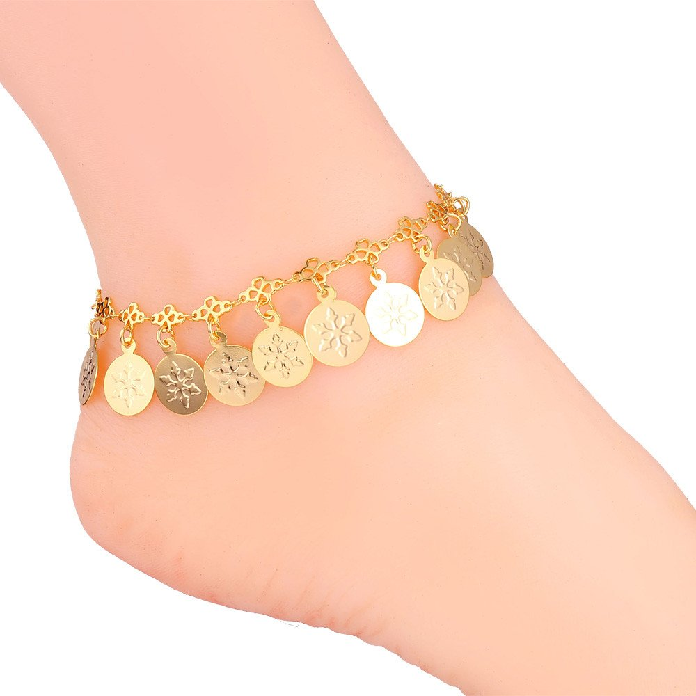 Women Platinum/Gold Anklet Snowflake Pattern Charms Foot Chain Jewelry U7 Jewelry U7 A937K