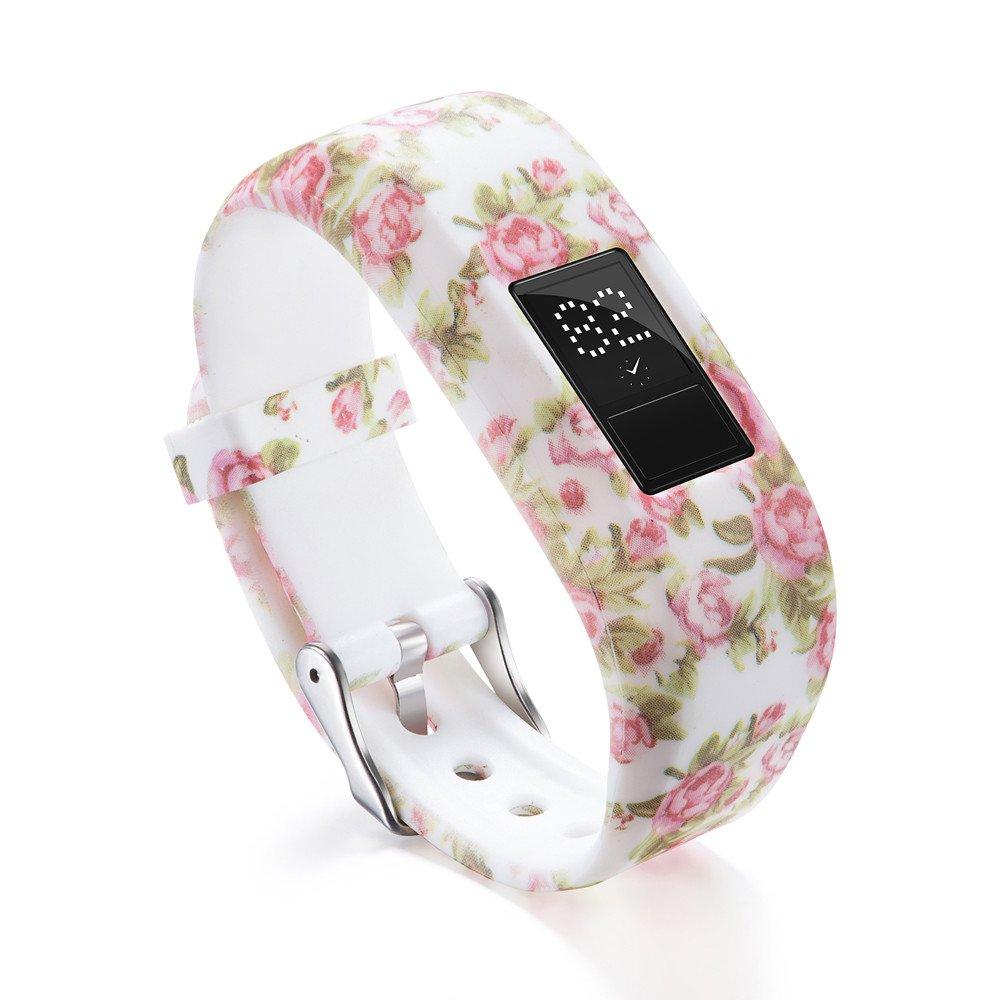 Garmin Vivofit 3 Bands,Lovewe Soft Silicone Replacement Strap Accessory Flower Printing Wristbands For Garmin Vivofit 3 (D)