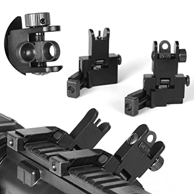Adjustable 45 Degree Offset Flip Up Front and Rear Rapid Transition Iron Sight