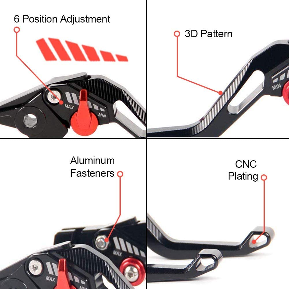 FXCNC Racing Motorcycle 3D Plating Short Adjustable Brake Clutch Levers Fit for Yamaha YZF R125 2008 2009 2010 2011 2012 2013