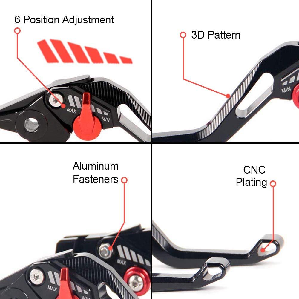 Auzkong Palancas de embrague de freno cortas ajustable para Yamaha YZF R6 1999-2004 YZF R1 2002-2003 FZ1 Fazer 2001-2005 gris