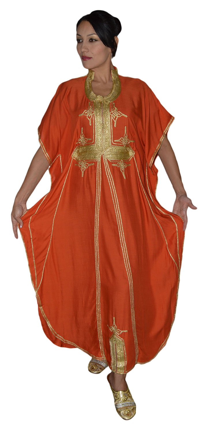 Moroccan Caftan Hand Made Breathable Cotton with Gold Hand Embroidery Long Orange