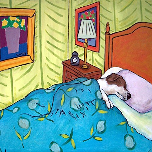 Jack Russell Terrier Tile - Jack Russell Dog Sleeping in Bed dog art tile coaster gift green Walls