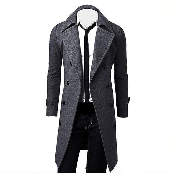 ♚Btruely Herren Abrigo Primavera/Otoño/Invierno Casual Solid Slim Bomber Jacket Zipper Outwear Hombres Caliente Doble Fila De Botones De Lana Capa SuéTer ...