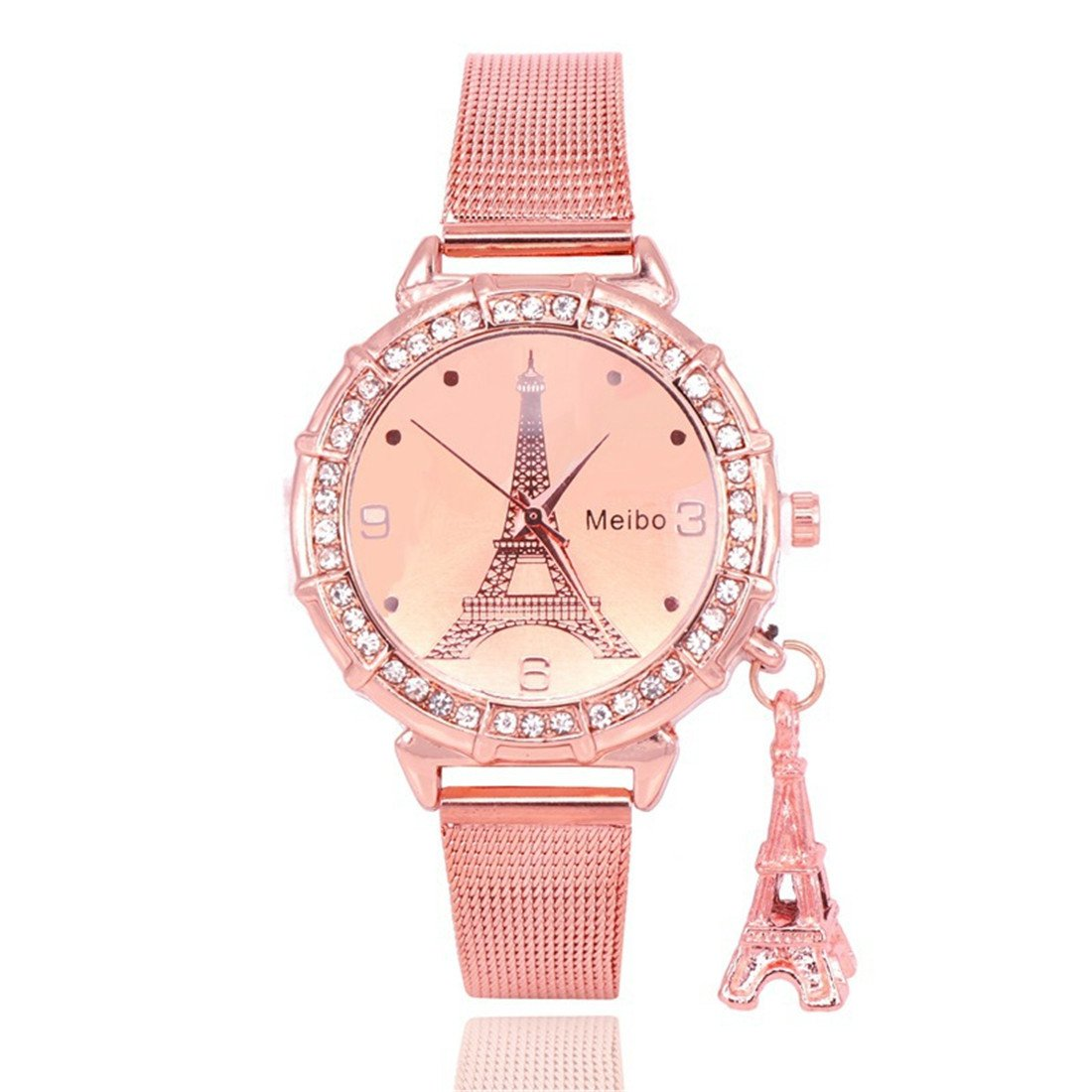 Loweryeah Rhinestone Around Case Eiffel Tower Print Quartz Watch Casual Strap with Eiffel Tower Pendant(Rose Gold Color)