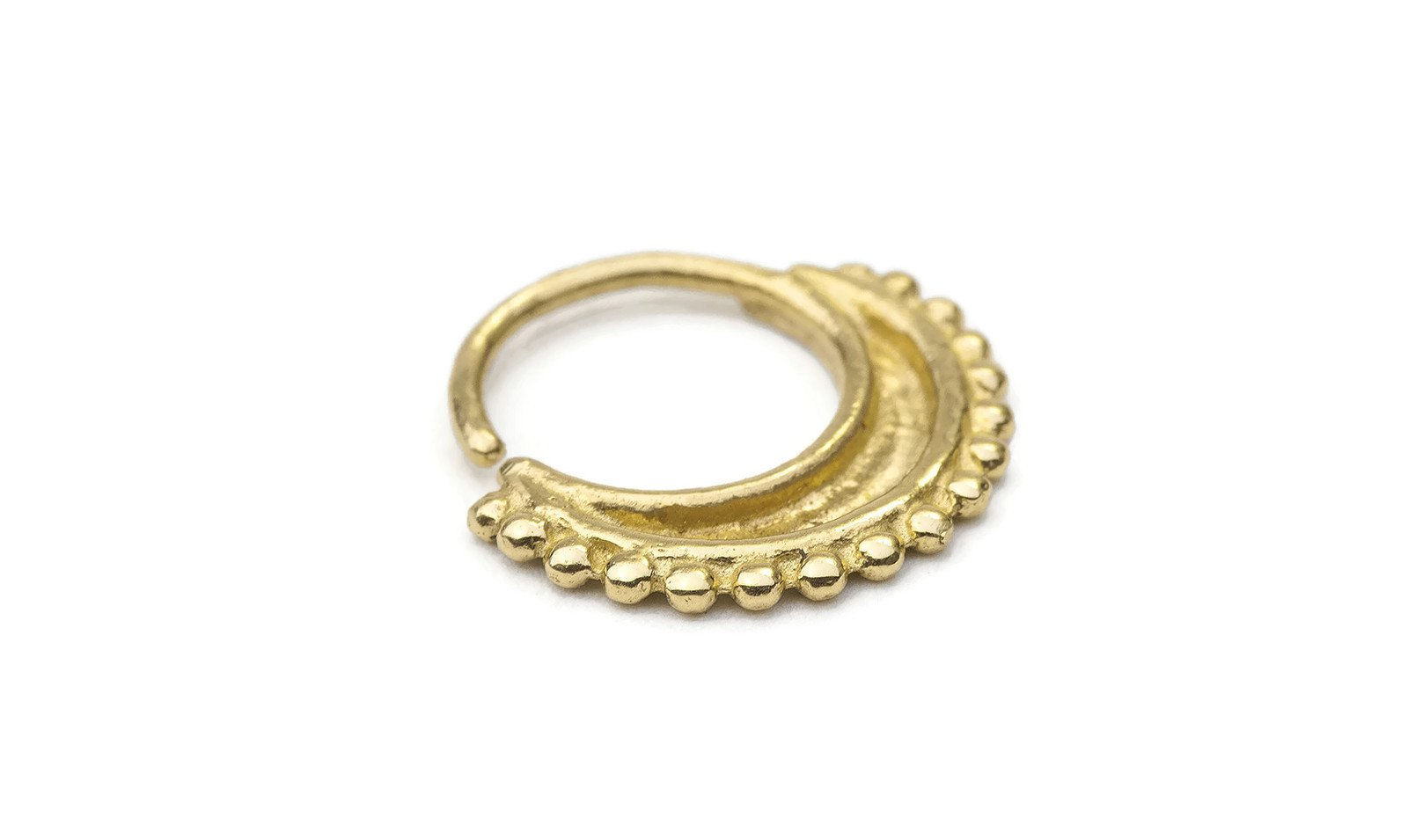 Studio Meme Designer Handmade Nose Rings available in Solid 14k Yellow Gold 18 Gauge 7-9mm
