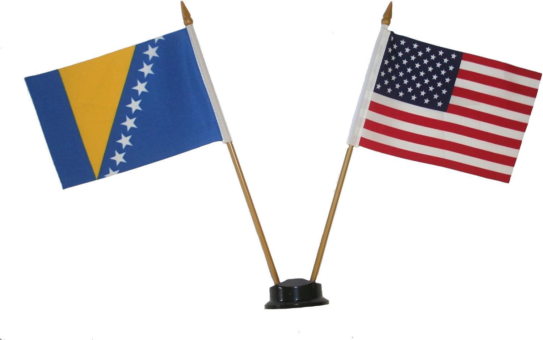 "BOSNIA /& HERZEGOVINA COUNTRY SMALL 4 X 6  MINI STICK FLAG WITH 10/"" PLASTIC POLE"