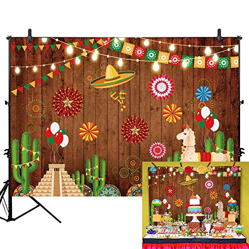 Allenjoy 7x5ft Mexican Fiesta Theme Backdrop Summer Cinco De Mayo Birthday Party Photography Background Mexico Cactus Lama Alpacos Colorful Flags Festival Banner Cake Table Decors Photo Booth Shoot ()