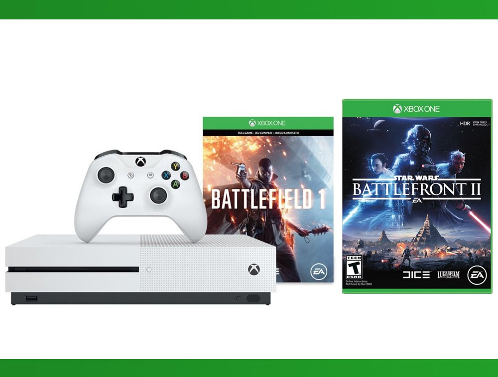 Xbox One S 500 GB Battlefield 1 Console + Star Wars Battlefront II + WWE 2K16 Bundle ( 3 - Items )